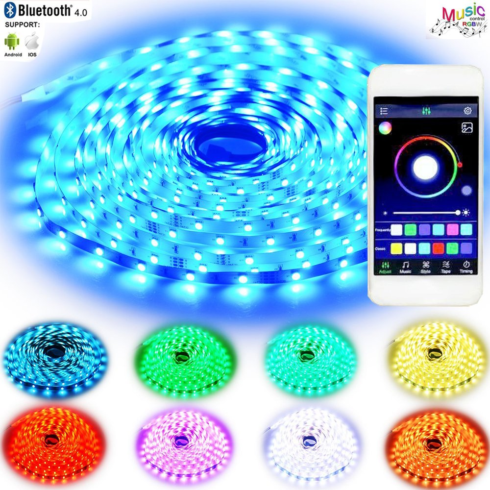 HConce LED Strip Lights,LED Rope Lights, LED Tape Light, LED Christmas Lights with Bluetooth APP Music Controller 10 Meter 32.8 Foot Flexible Color Changing SMD 5050 300leds and 12V 5A Power Supply