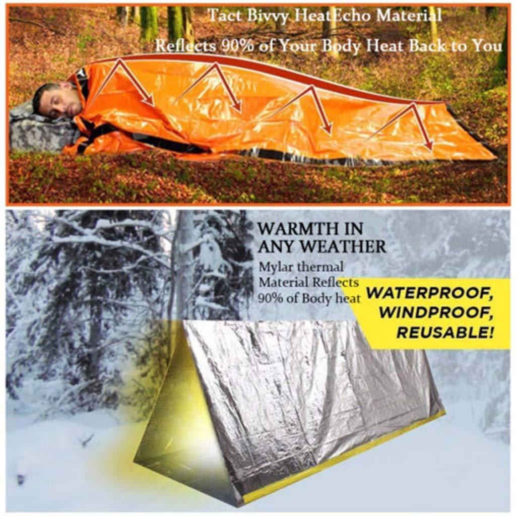 exp/éditions Survie ToDIDAF Sac de Couchage durgence Unique r/éutilisable Thermique imperm/éable pour ext/érieur randonn/ée 200 x 91 cm Tourisme Camping