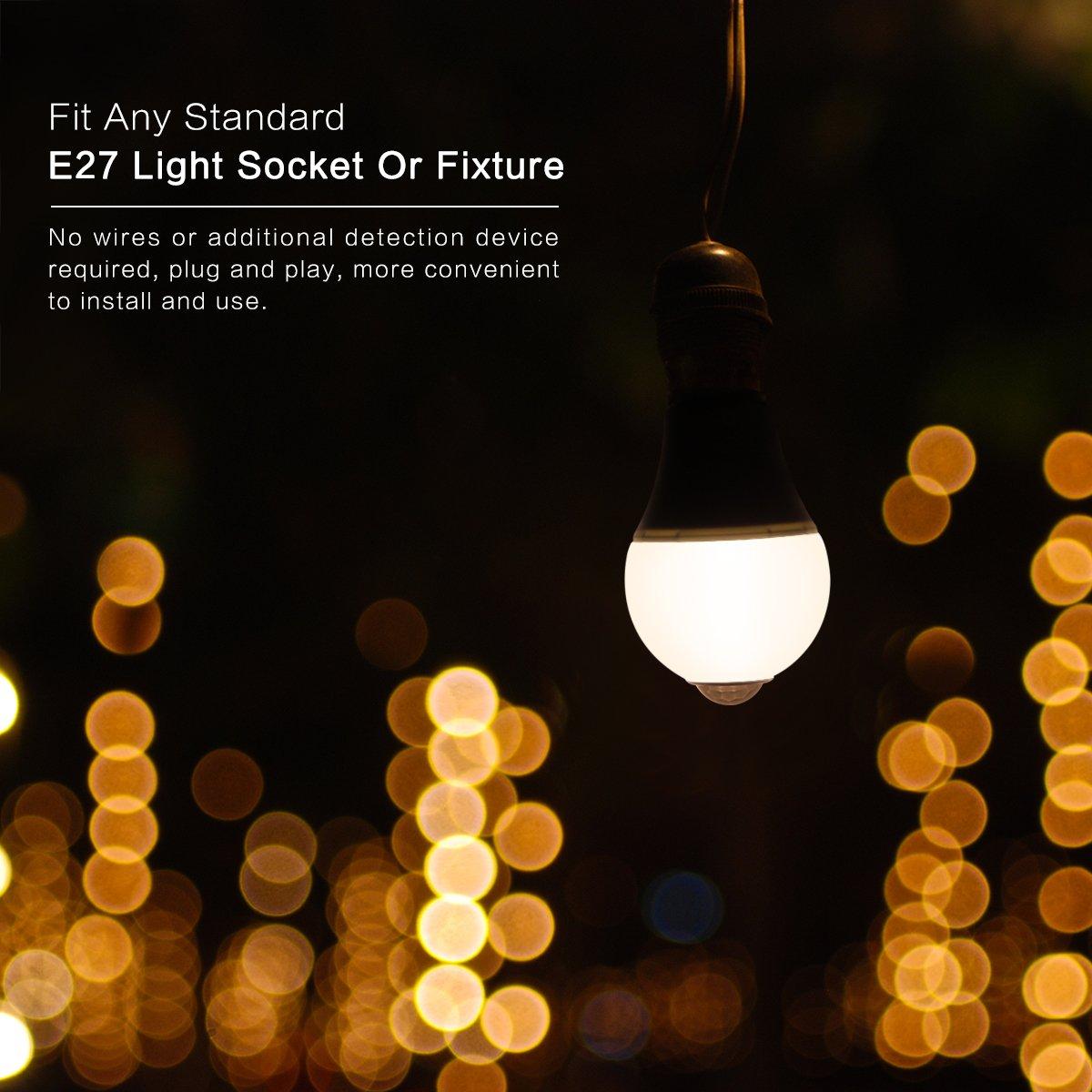 Light Sensor Led Bulb Allomn 7w E26 E27 Automatic Dusk To Wiring A Dawn Photocell