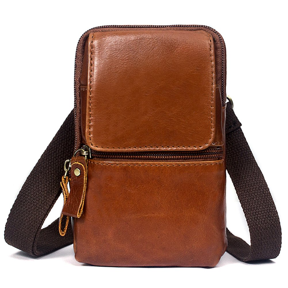 Leather Fanny Pack - Mens Waist Bag- Belt Cellphone Pouch for Travel Work-4.1 * 1.6 * 6.7 Fmeida