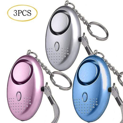 Alarma Personal, Alarma Personal de Emergencia, Scream Safesound, 3 Piezas 140DB Alarma Seguridad Autodefensa con Luz LED Llaveros para Mujeres, ...