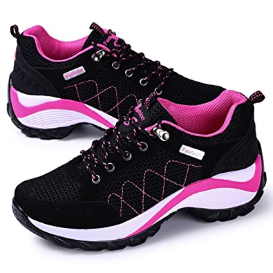 4108fcf87089 JINGJING Women Black Running Shoes Sneakers lace up mesh Lightweight Gym Sport  Shoes (6 B
