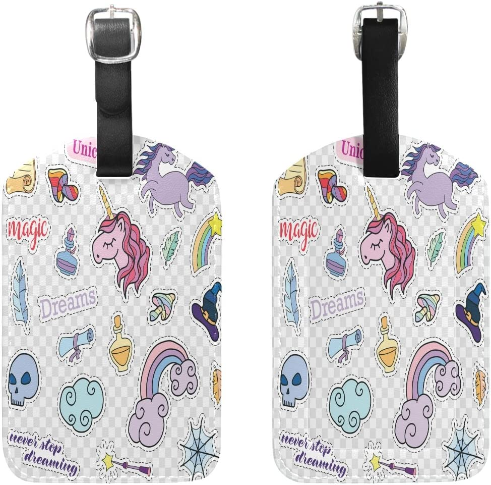 Saobao Travel Luggage Tag Rainbow And Unicorn PU Leather Baggage Travel ID
