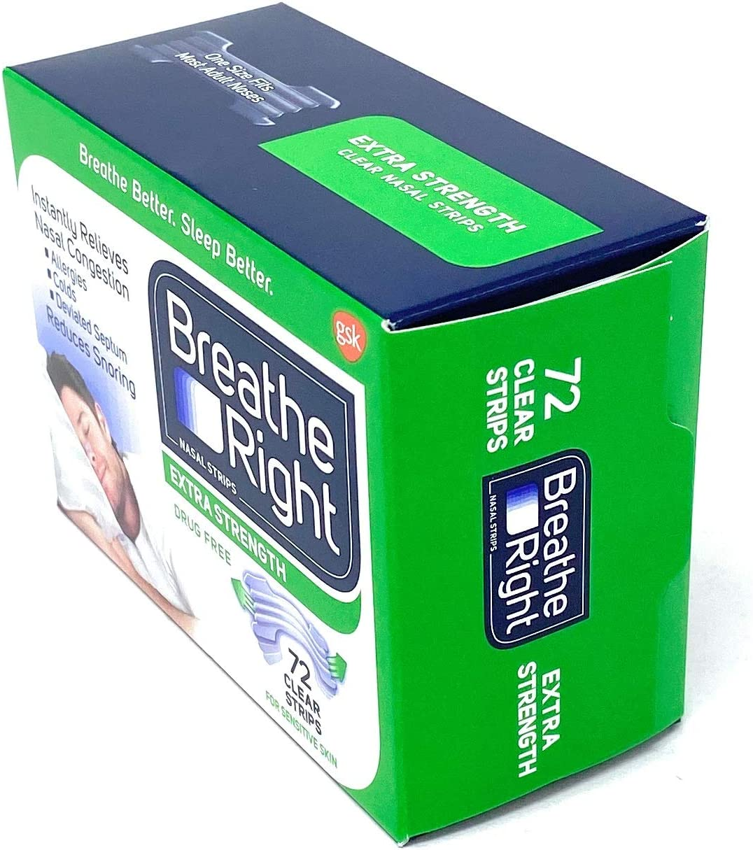 Breathe Right Nasal Strips, Extra Clear for Sensitive Skin, 72 Clear Strips: Health & Personal Care