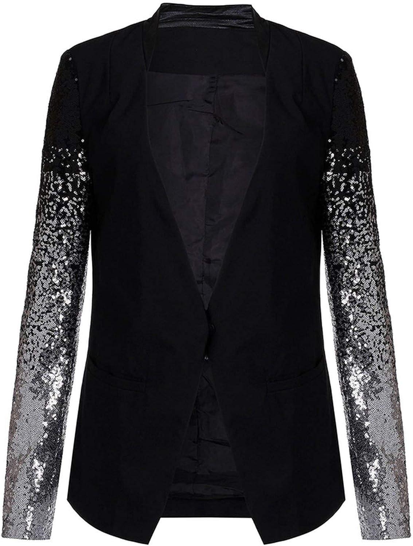 Thin Long Sleeve Lapel Bling Silver Black Sequin Elegant Work Blazers