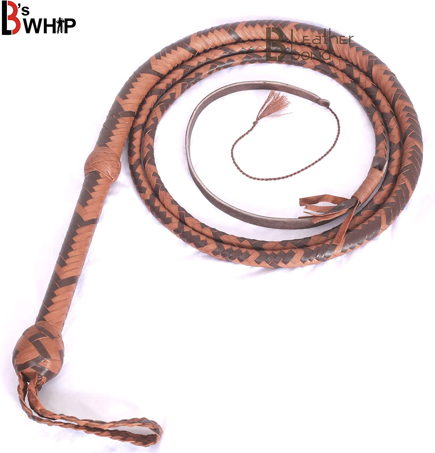 BULLWHIP DARK BROWN HAND MADE REAL COWHIDE LEATHER 10 FOOT BULL WHIP 8 PLAIT