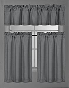 Elegant Home Collection 3 Piece Solid Color Faux Silk Blackout Kitchen Window Curtain Set with Tiers and Valance Solid Color Lined Thermal Blackout Drape Window Treatment Set #K3(Charcoal / Dark Grey)