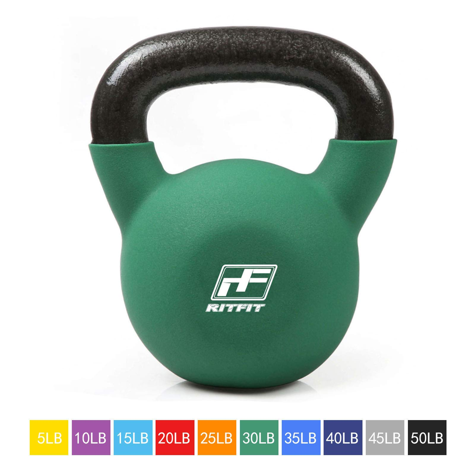 RitFit Neoprene Coated Solid Cast Iron Kettlebell - Great for Full Body Workout, Cross-Training, Weight Loss & Strength Training (5/10/15/20/25/30/35/40/45/50 LB) (30LB(Green))