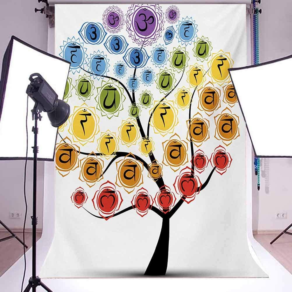 Chakra 10x12 FT Photography Backdrop Tree with Branch of Chakra Icon Harmony in Nature Physical Force Theme Print Background for Party Home Decor Outdoorsy Theme Vinyl Shoot Props Multicolor