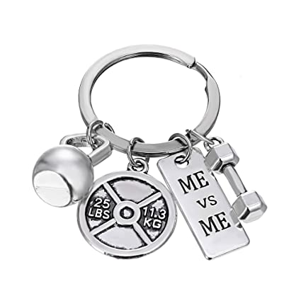iDMSON Unisex Stainless Steel Keyring Body Weight Lifting Fitness Gym Exercise Barbell Dumbbell Charm Keychain (ME vs ME)
