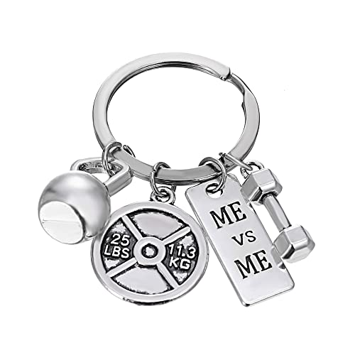 Unisex Stainless Steel Keyring Body Weight Lifting Fitness Gym Exercise Barbell Dumbbell Charm Keychains