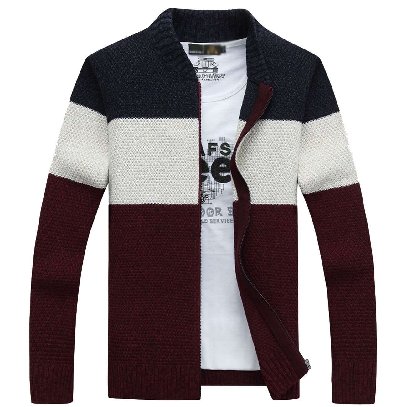 fanhang Men's Slim Fit Knitted Zip Down Cardigan Sweater with Stripe