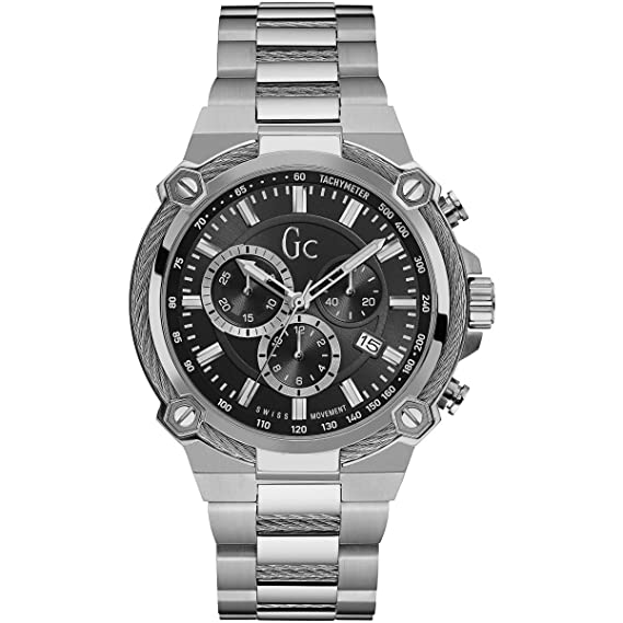 Guess Gc Collection Mens Guess Collection Mens Silver-Black Watch