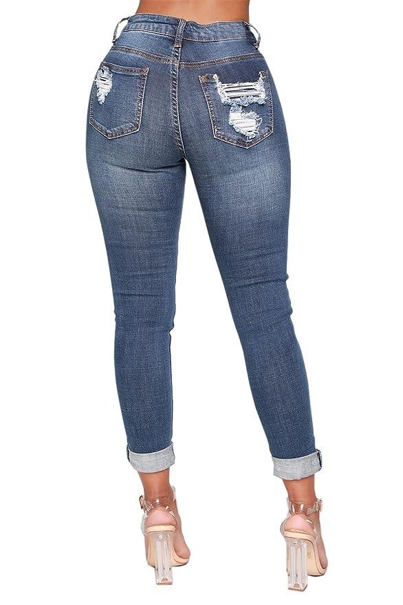 Amazon.com: Ermonn Pantalones vaqueros para mujer de cintura ...