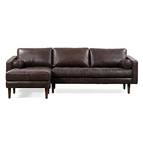 Remarkable Poly Bark Napa Left Sectional Modern Leather Sofa In Madagascar Cocoa Gmtry Best Dining Table And Chair Ideas Images Gmtryco