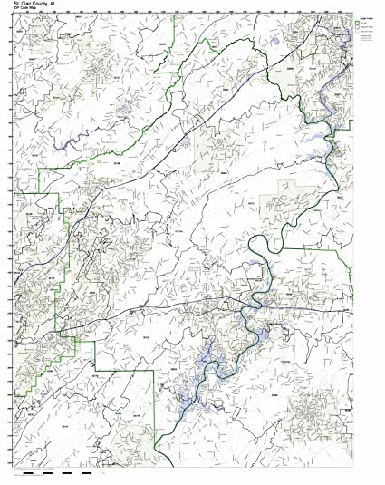 Amazon Com St Clair County Alabama Al Zip Code Map Not Laminated