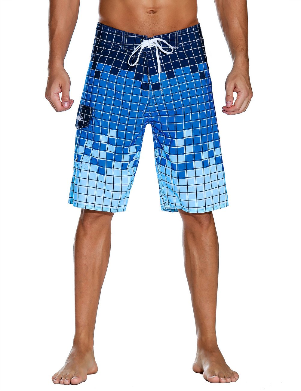 Nonwe Men's Swimwear Grid Printed Quick Dry Board Shorts with Lining Blue 40 by Nonwe