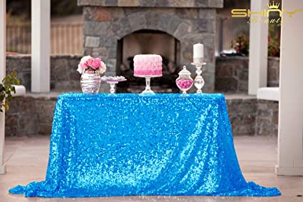 Tablecloths 70x108 Inch Sequin Turquoise Table Cloth Aqua Blue Sequin  Tablecloth ~0807S