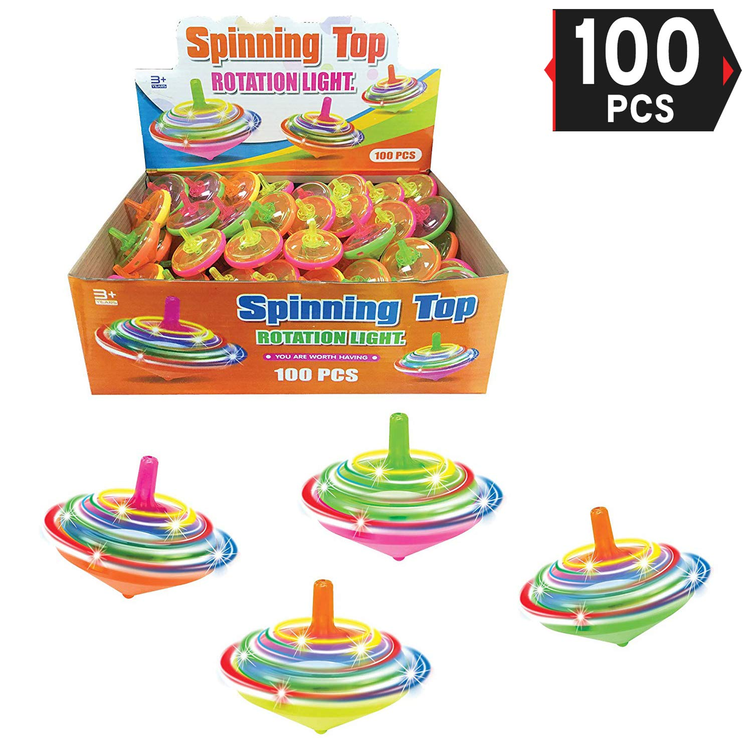 Value Bundle - 100 Pieces LED Light Up Flashing Mini Spinning Tops with Gyroscope - Kids Novelty Bulk Spin Toys Party Favors by Liberty Imports