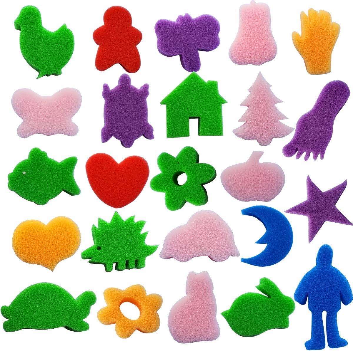 DIY Crafts Drawing Tools,Round Sponges,Color Randomly Kids Art Tool Kits Himeeu 53 Pcs Paint Sponge Brush Sets