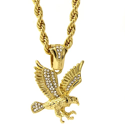ec071c4869c Mens 14k Gold Plated Iced Out Hip-Hop Clawed Eagle Pendant 30