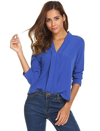 7f2fa81ab Burlady Women Long Sleeve Shirts Casual V Neck Chiffon Blouse Button Up  Shirt For Women Blue