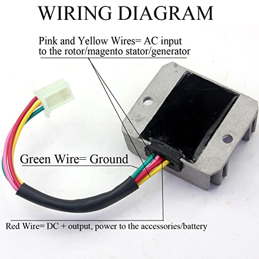 amazon com wingsmoto rectifier regulator 4 wires voltage atv gy6 12-Wire Generator Wiring Diagram  12 Volt Generator Wiring Diagram Generator Transfer Switch Wiring Diagram Starter Generator Schematic