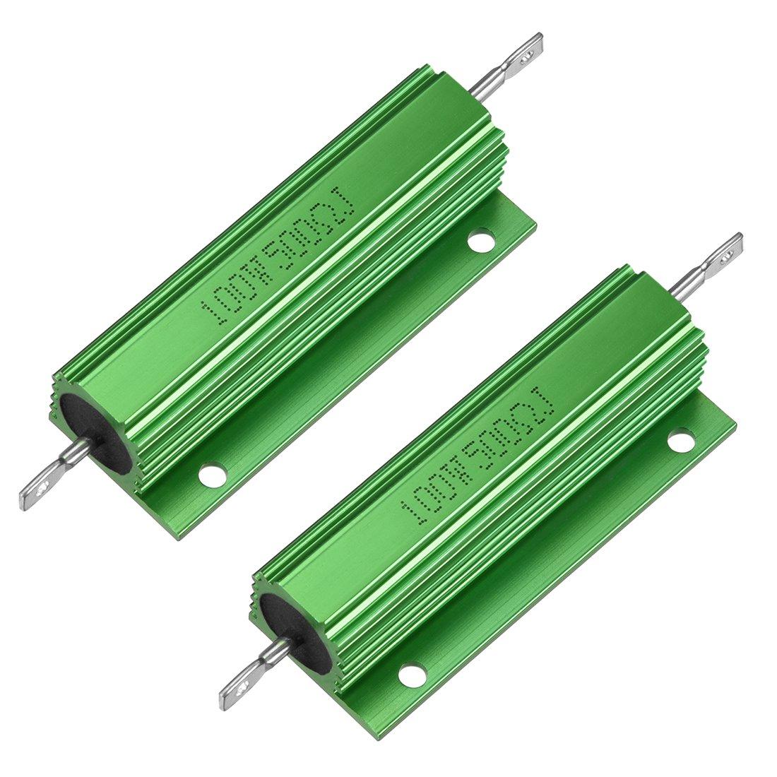 500 Ohm 2 resistencias de carcasa de aluminio de 100 W 500 RJ para convertidor de repuesto LED 100 W uxcell color verde