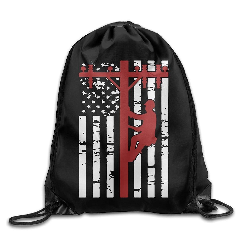 ComfortFT American Lineman Flag Drawstring Pack Beam Mouth ort Bag Rucksack Shoulder Bags For Men And Women