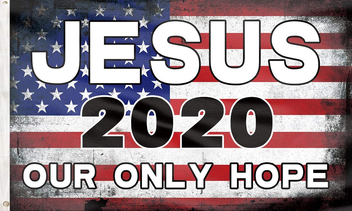 Jesus 2020 Flag Our Only Hope Ameircan Flag Poster UV Resistance Fading & Durable Wall Flag Heavy Duty with Brass Grommets for Dorm Room Decor,Outdoor,Parties 3x5 Ft