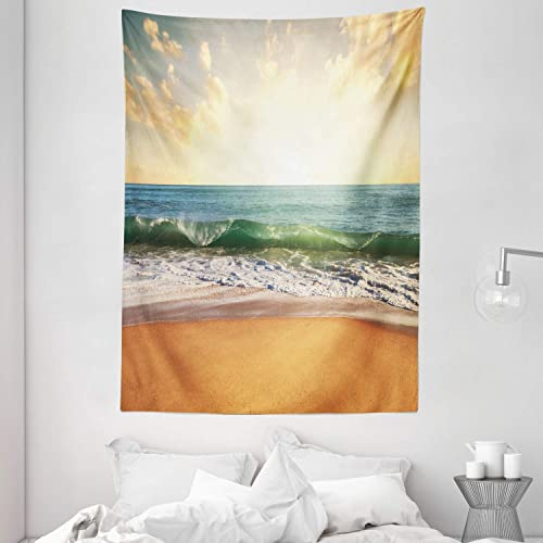 Ambesonne Ocean Tapestry, Sunset at a Smooth Sandy Beach with Small Wave and Bubbles from The Sea, Wall Hanging for Bedroom Living Room Dorm, 60 X 80 , Amber Cream