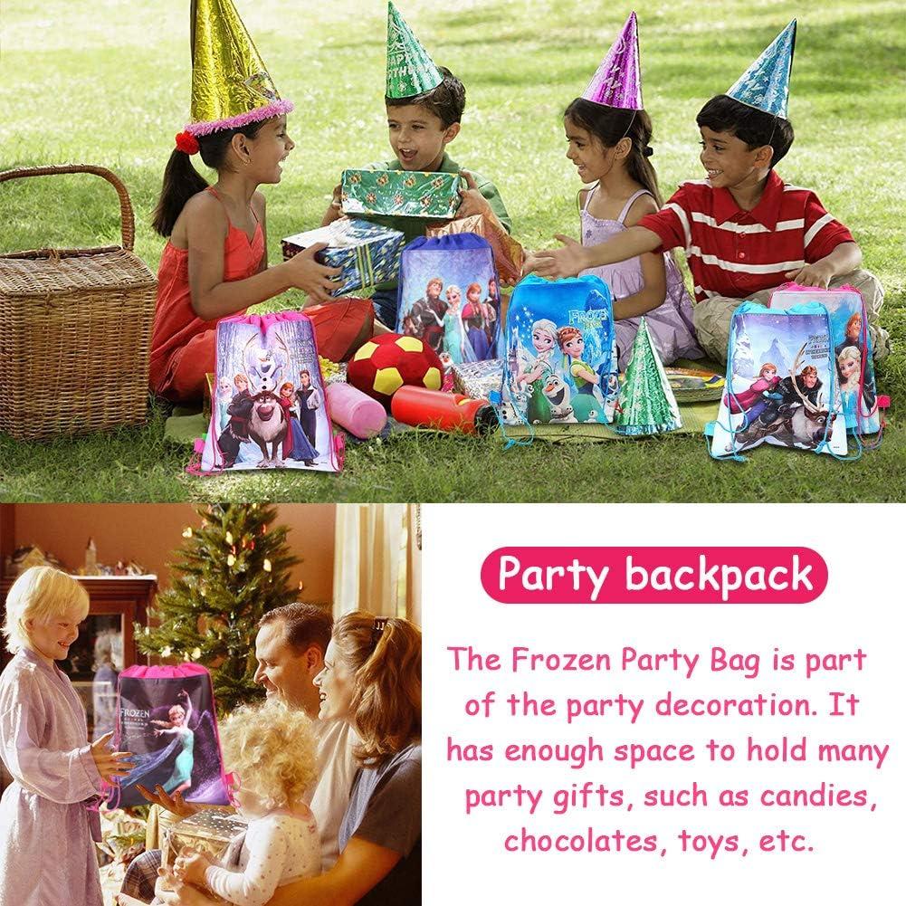 12 Piezas Ni/ños con Cord/ón Mochilas Frozen Party Bolsas Bolsas con Cord/ón Mochila Party Party Bolsas Fiesta de Cumplea/ños Navidad Regalos Ni/ños Party Bolsas