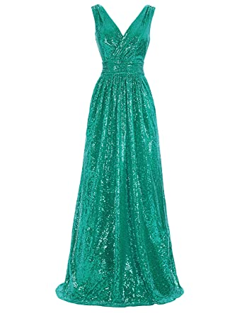 d13dd068b9b Kate Kasin V-Neck Long Sequined Dresses for Women Evening Party Green USA2  KK199-