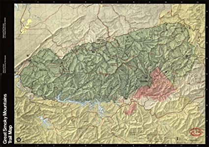 Amazon.com: Vintage 1990 Map of Great Smoky Mountains National Park ...
