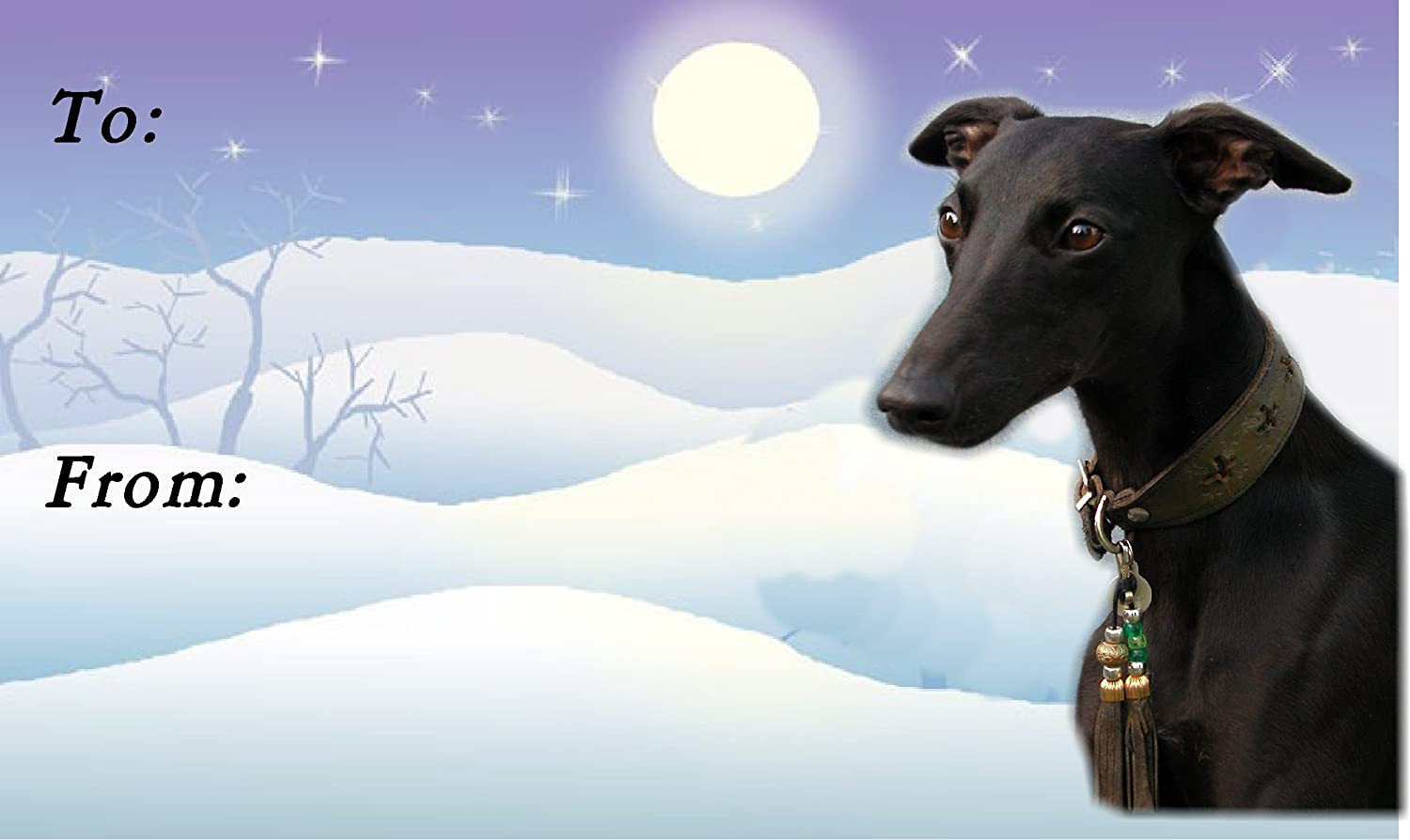 No 2 Whippet Christmas Labels by Starprint