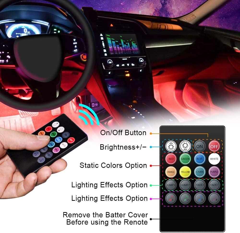 Flexible Tubing VIDEN Car Strip LED Lights Car Interior Lights Waterproof with 4PCs 48 LEDs 8 Colors with Sound Sensor and Remote Control USB Port Car Charger Light Bar DC 5V