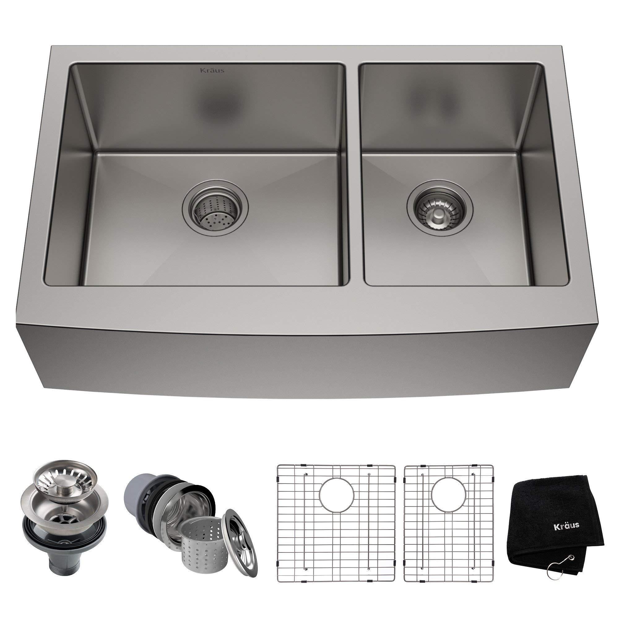 Kraus KHF203-36 36 inch Farmhouse Apron 60/40 Double Bowl 16 gauge Stainless Steel Kitchen Sink (Renewed)