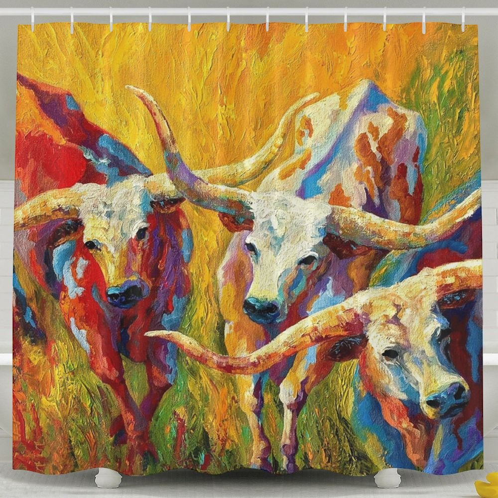Golden Water Dance Of The Longhorns Printed Home Decor Shower Curtain By, Fabric Bathroom Decor Set With Hooks, 60'' X 72''