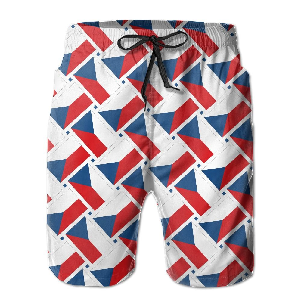 Men's Beach Shorts Swim Trunks Quick Dry Lightweight Short 3D Print Czech Republic Flag Weave Beach Shorts Adam Original CO. LTD