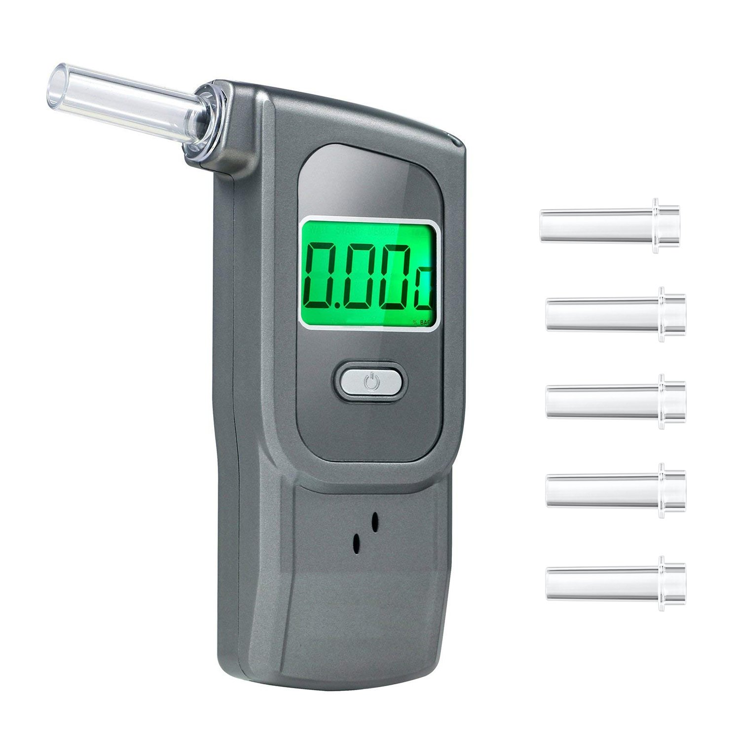 Breathalyzer Anntoo Professional Grade Portable Digital Alcohol Tester with 5 Mouthpieces for Personal Use - Gray