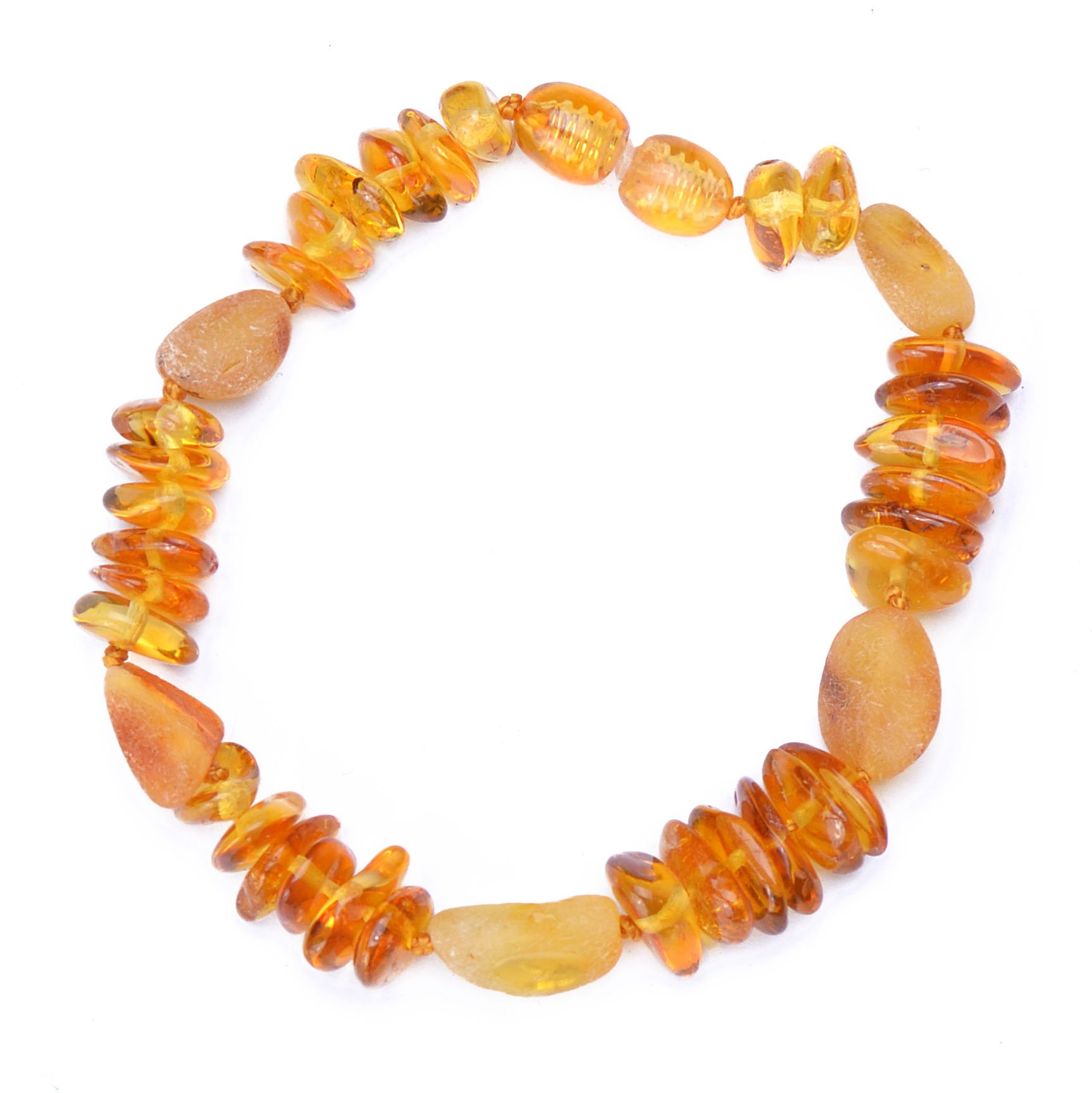 Polished Baltic Amber Bracelet for Adult with A Plastic Screw - Choose Your Color and Choose Your Size! - 3 Sizes and 6 Different Colors - Genuine Baltic Amber (7 Inches, Mixed6) by Genuine Amber