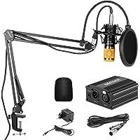 Neewer NW-800 Kit de Micrófono de Condensador de Oro - Fuente de Alimentación Negra 48V Phantom Soporte de Brazo de…
