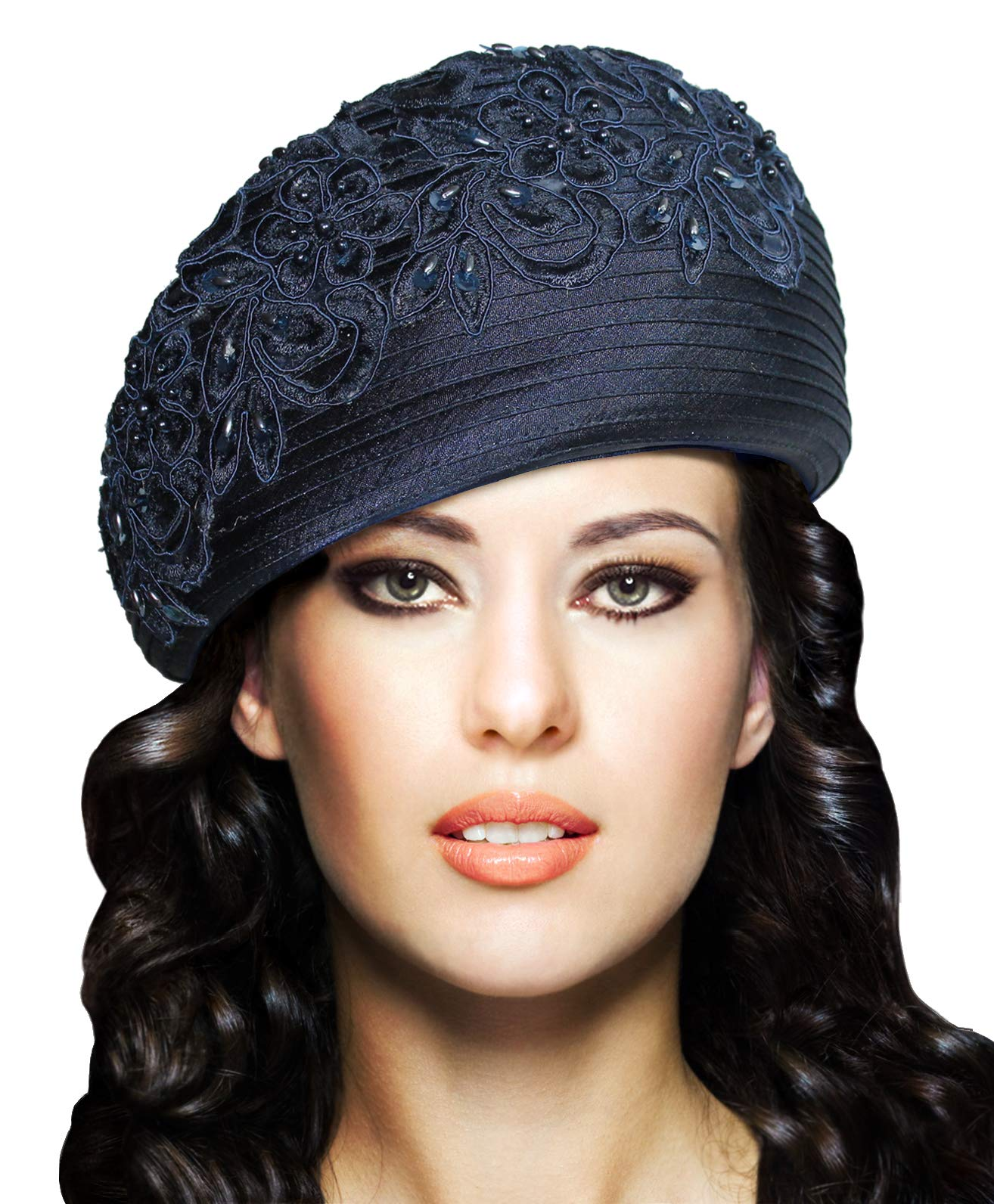 Mr. Song Millinery Beret Cloche Hat with Premium Lace - Q62 (Navy Blue)