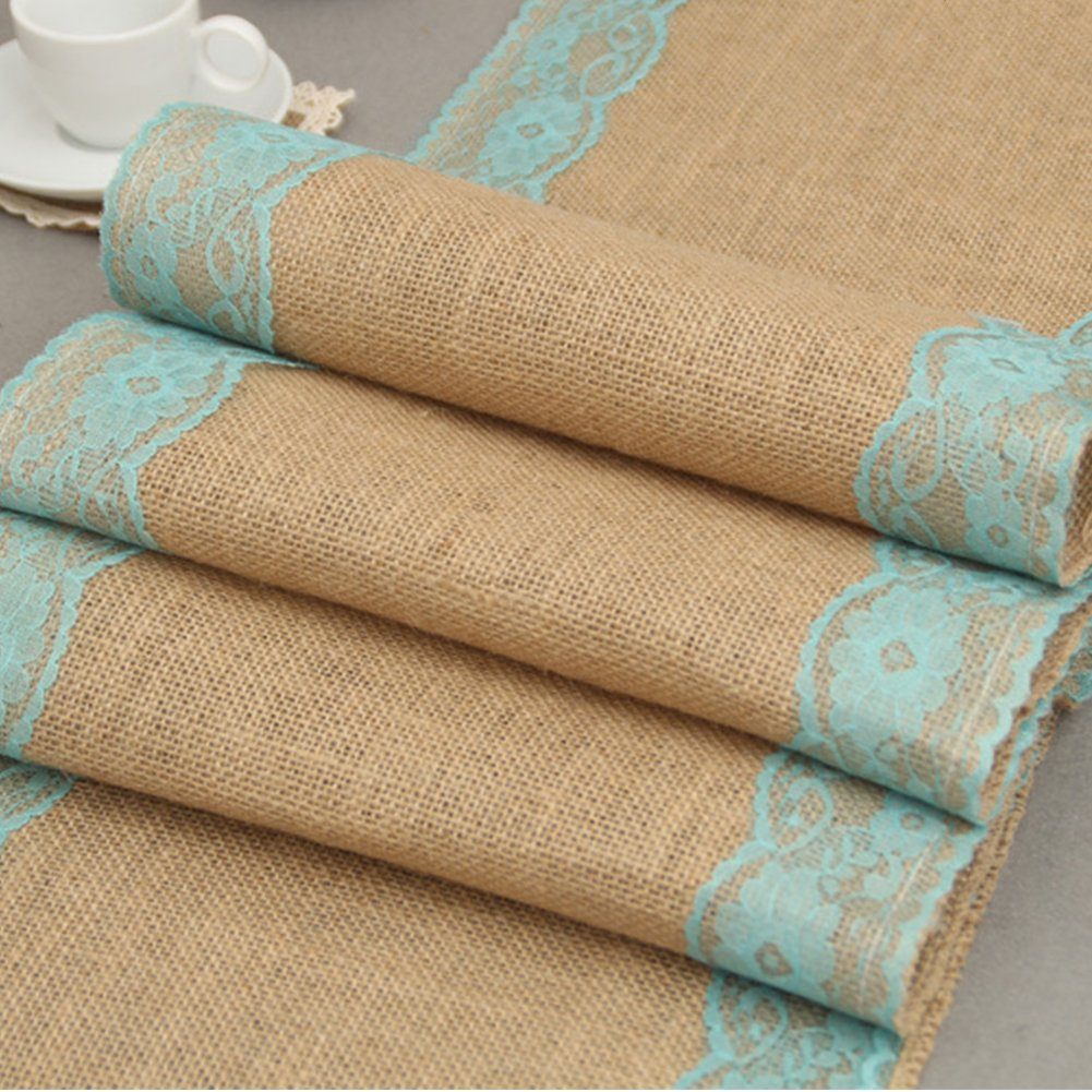 solesu camino de mesa, camino de mesa de encaje tela de yute de arpillera de yute natural rústico boda decoración para tapicería de arpillera yute al aire ...