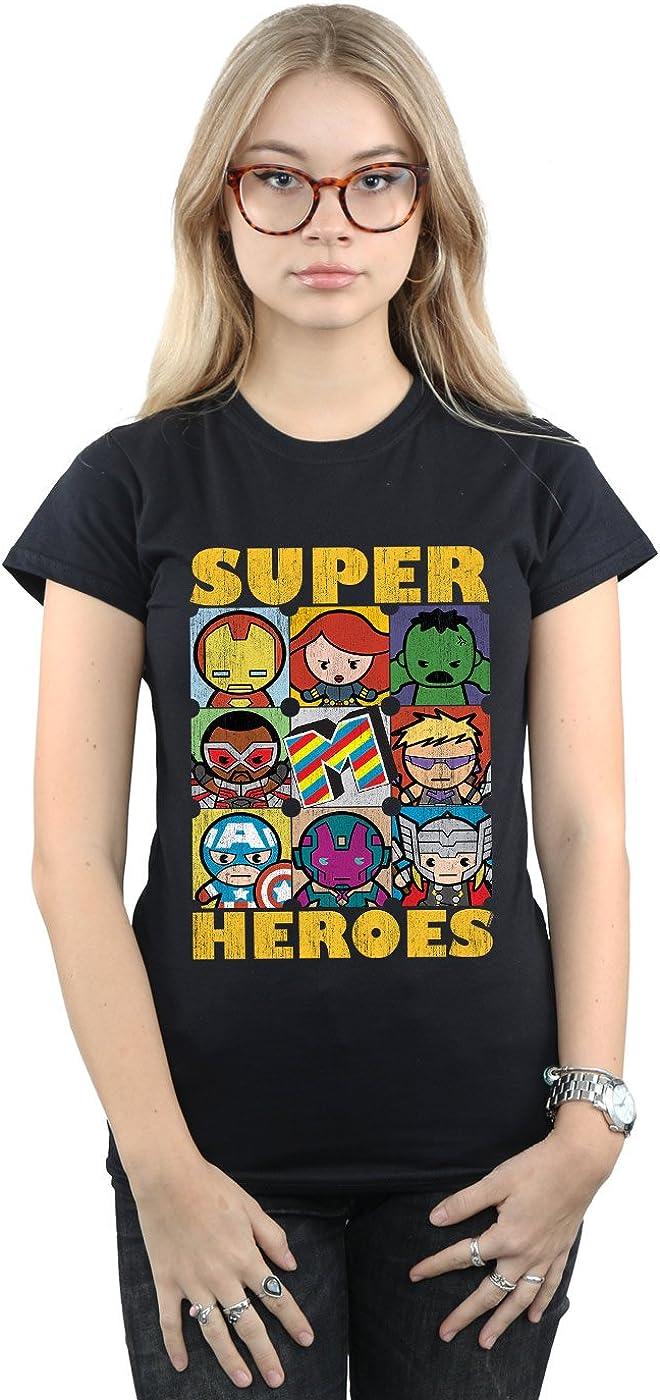 Marvel Mujer Kawaii Super Heroes Camiseta