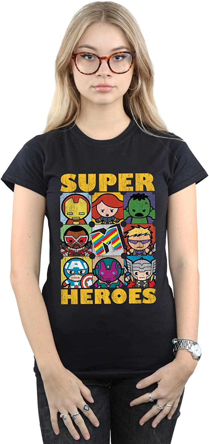 TALLA XL. Marvel Mujer Kawaii Super Heroes Camiseta
