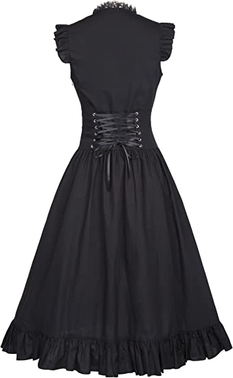 Steampunk Gothic Victorian Ruffled Dress Sleeveless