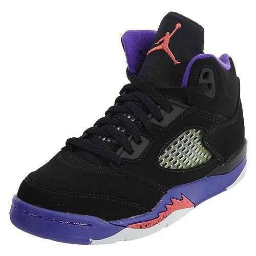 wiele modnych dobra tekstura oszczędzać Jordan Retro 5 GP Girls Big Kids Running Shoes Black/Ember Glow/Fierce  Purple 440893-017