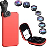 Phone Camera Lens Kit - iPhone Camera Lens - Fisheye Lens | Wide Angle Lens | Zoom Lens for Smartphone | Telephoto Lens | Macro Lens - Universal 7 in 1 Clip On Lens With Protective Case and Lens Caps