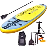 "Goplus Inflatable 11' SUP Stand Up Paddle Board Package w/ 3 Fins Adjustable Paddle Pump Kit Carry Backpack, 6"" Thick"